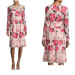 Kate Spade Rosa Long Sleeve Floral Lace-Trim Dress
